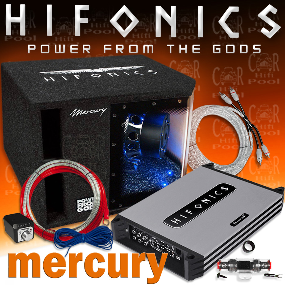 Hifonics Mercury MBP1000 4 Basspack - Auto Car Hifi Komplett Anlage Set Kfz  1000 W